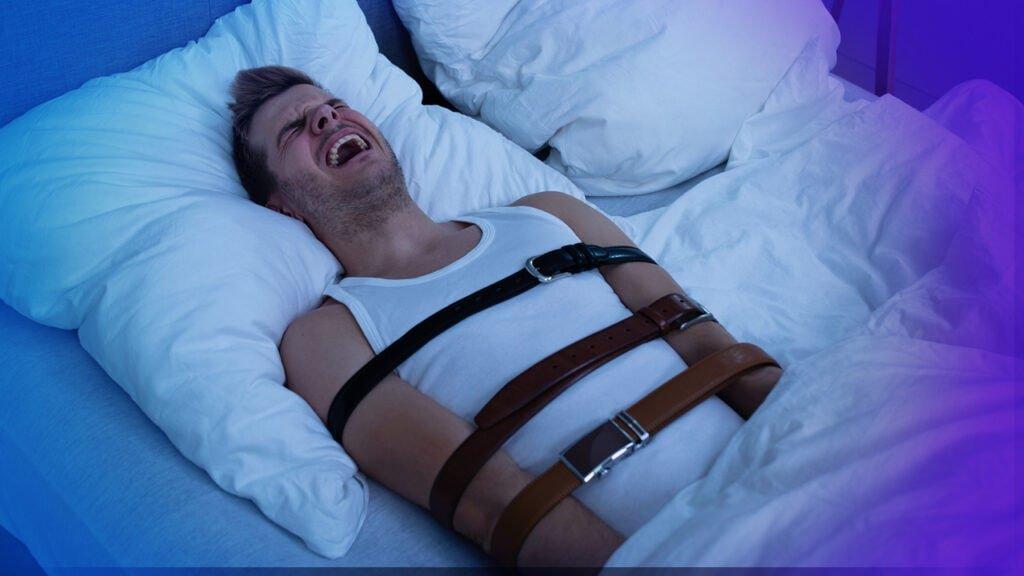 Mann leidet an der Schlafparalyse