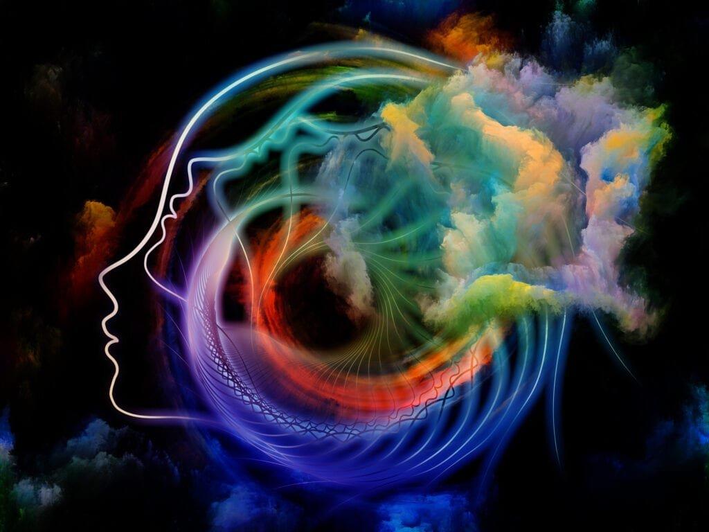 Bewusstsein dargestellt in einer Spirale aus buntem Rauch