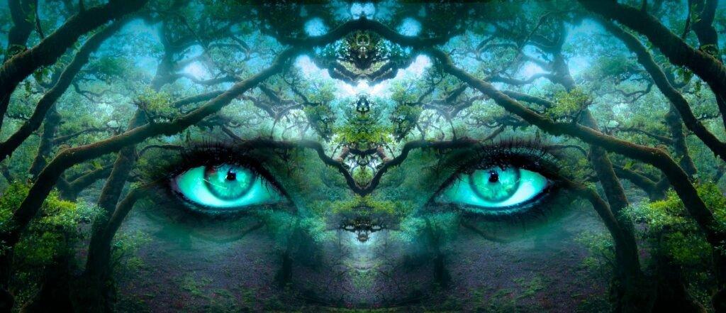 Bewusstsein Augen verschmolzen mit der Natur