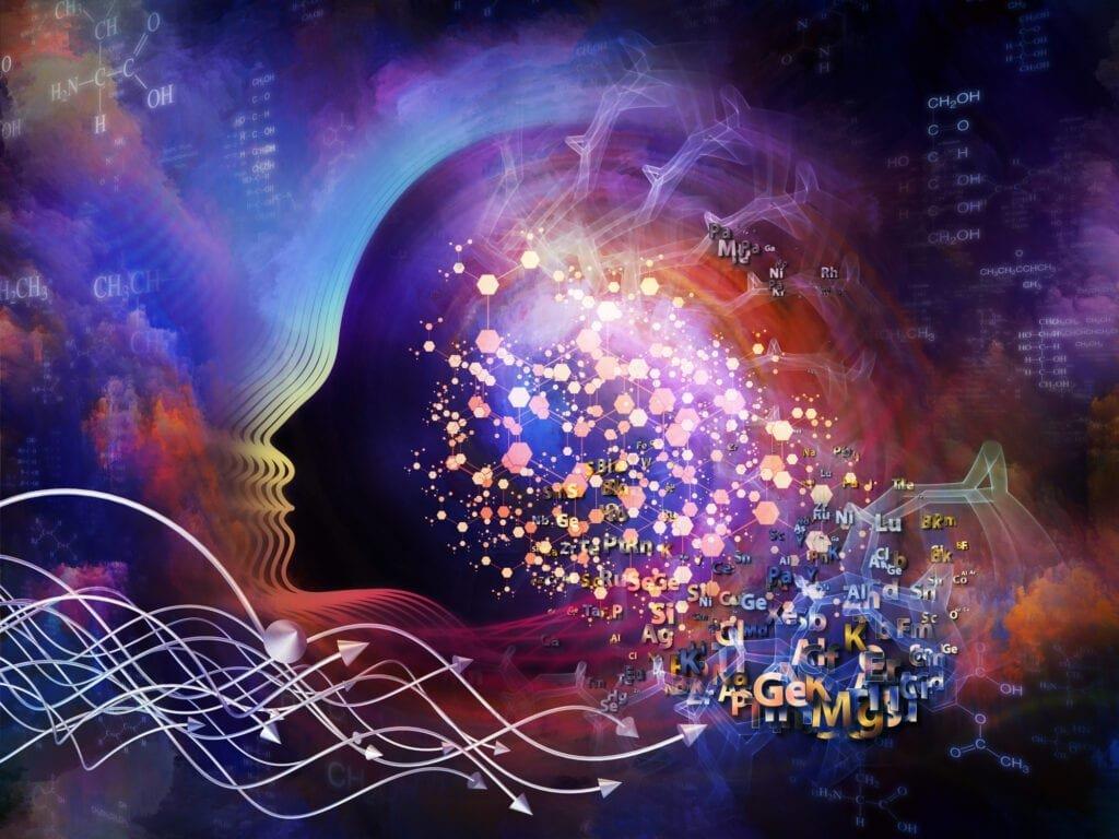 Spiritualität vs Esoterik Abstrakte Gehirnwellen