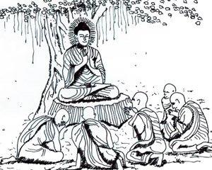 Siddharta lehrt seine 4 Wahrheiten an 5 Asketen, die er aus der damaligen Zeit kannte.