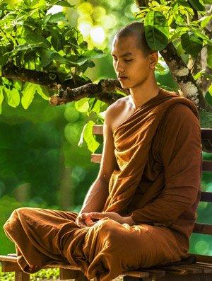 Der Meditierende soll bei der Transzendentalen Meditation bequem und aufrecht sitzen und bei geschlossenen Augen gedanklich ein Mantra, ein Wort aus dem Sanskrit, wiederholen.