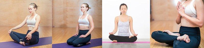 Wie meditiert man richtig ?Hier sind die gängigen Meditationssitzhaltungen abgebildet. Im 1. linken Bild sieht man den gewöhnlichen Schneidersitz. Das 2. Bild l. zeigt den Seiza-Sitz. Im 3. B. v. l. praktiziert die Frau den halben Lotussitz und ganz rechts den vollen Lotus.